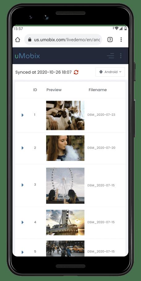 uMobix monitoring photos and videos
